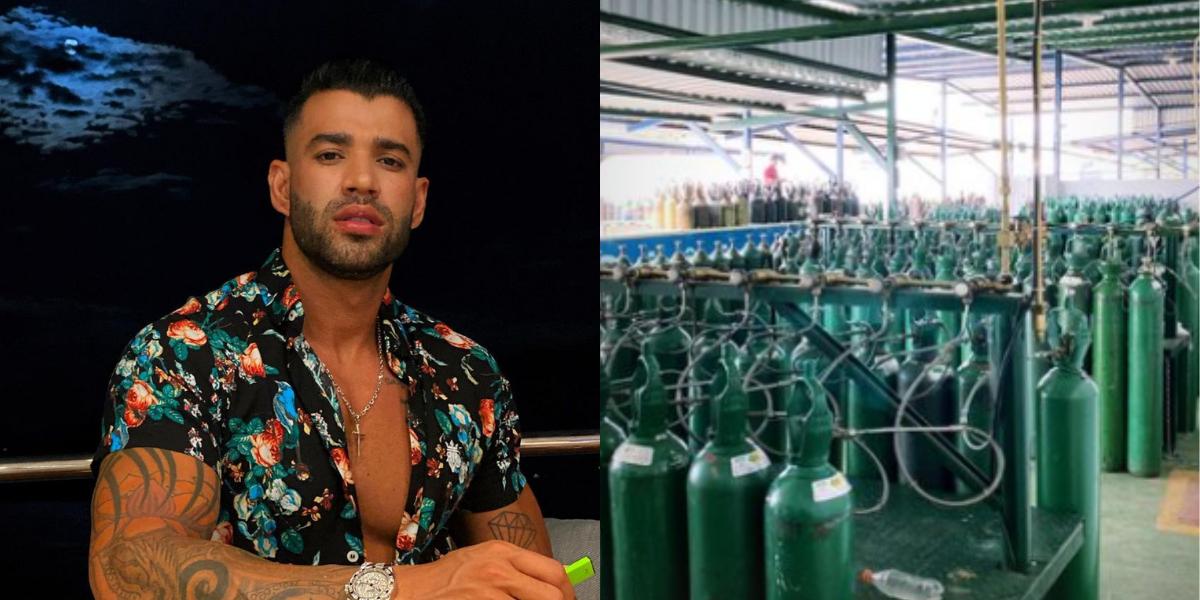 Gusttavo Lima publica foto mostrando cilindros de oxigênio que serão doados para Manaus