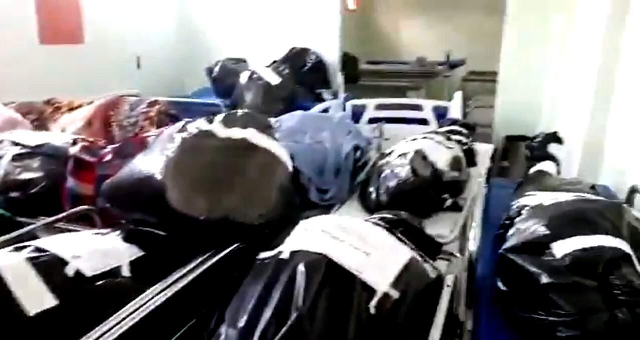 Vídeo mostra corpos acumulados em necrotério de hospital em Roraima