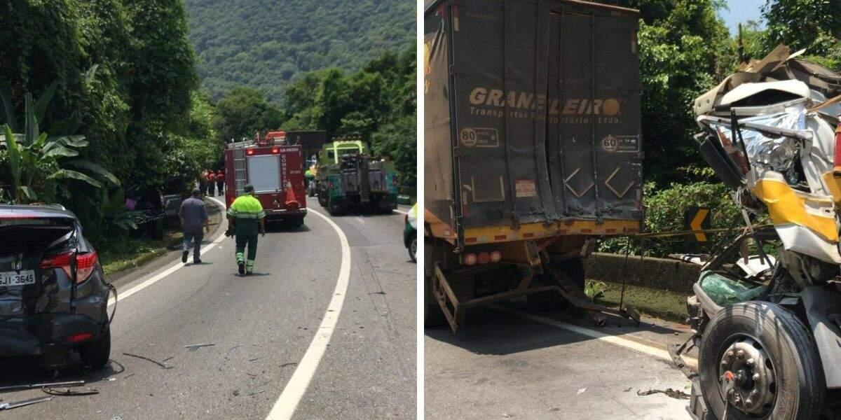 Caminhão perdeu o controle e colidiu com dois automóveis e outro caminhão