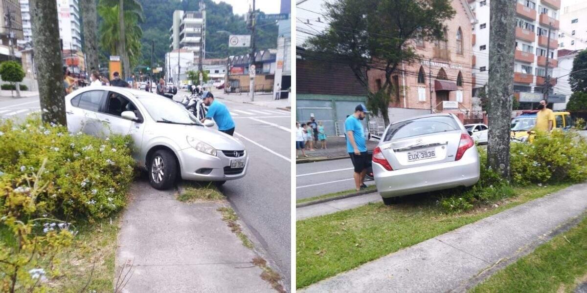 Em direção a Av. Ana Costa, motorista não fez a curva e atingiu o ciclista, que não se feriu