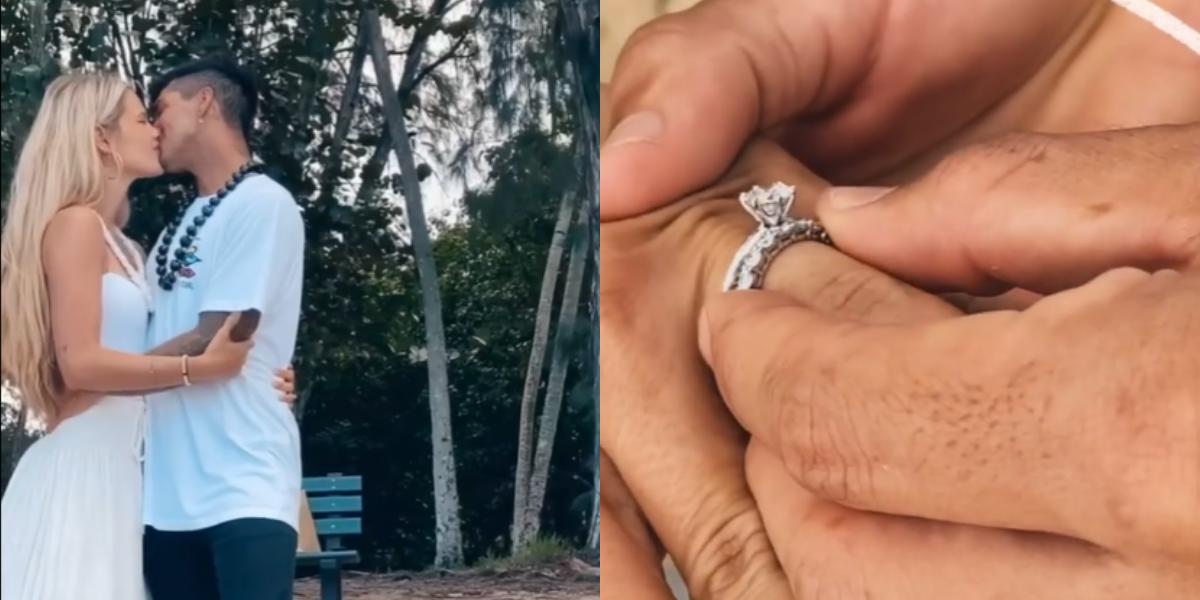Vídeo publicado nas redes sociais mostra Gabriel e Yasmin no momento da troca de alianças