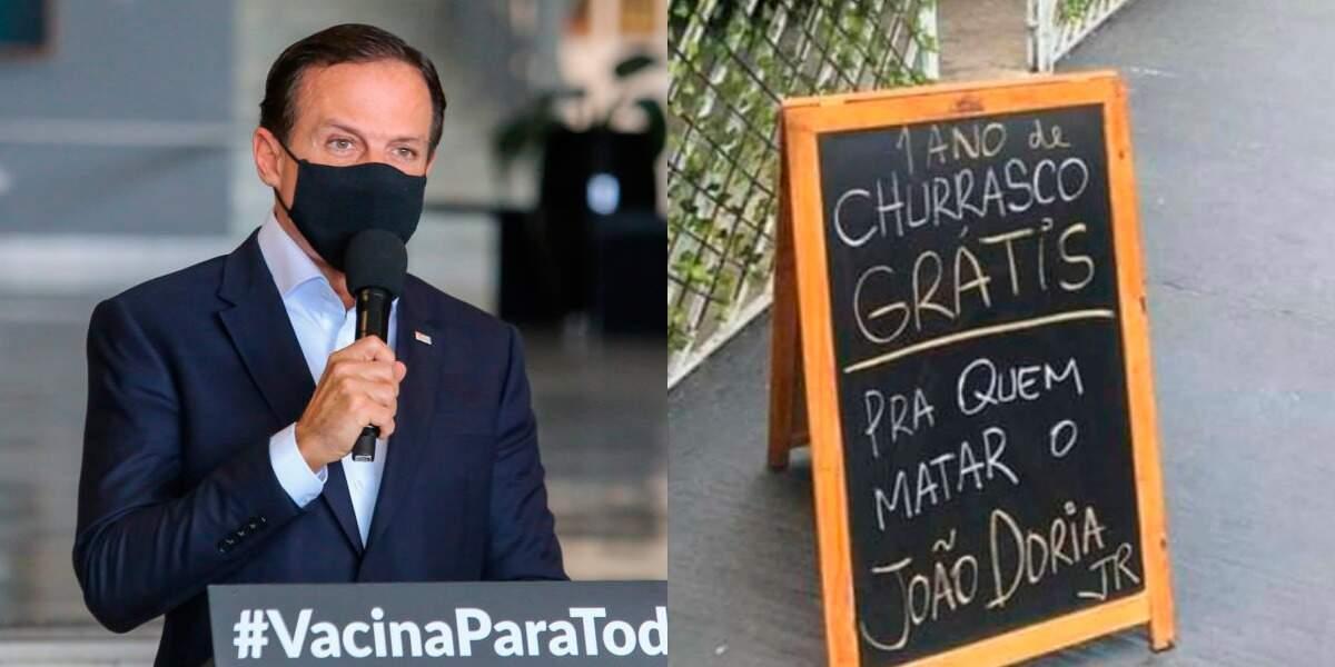 Cartaz esteve na frente da churrascaria La Casa de Parrilla, na Vila Mariana, Zona Sul de São Paulo