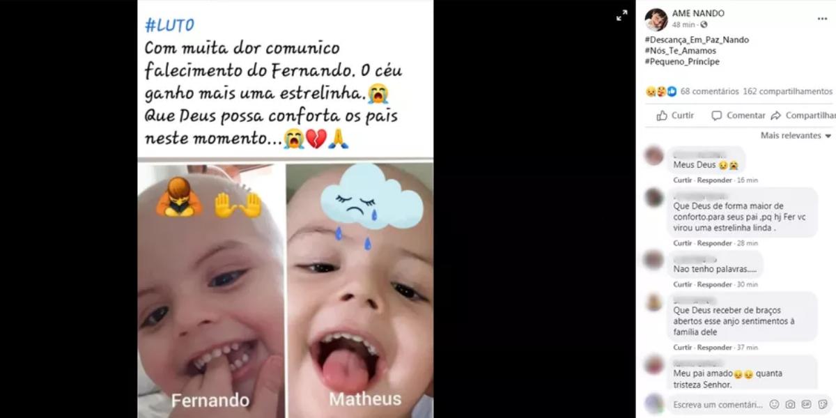 Página de apoio a Fernando nas redes sociais lamentou o fato e relembrou a morte do irmão Matheus
