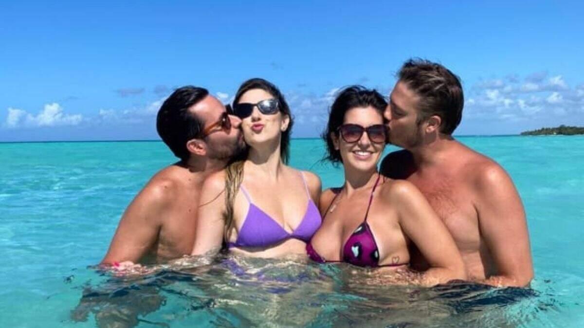 Dani Calabresa e Fábio Porchat curtem férias de casal no Caribe