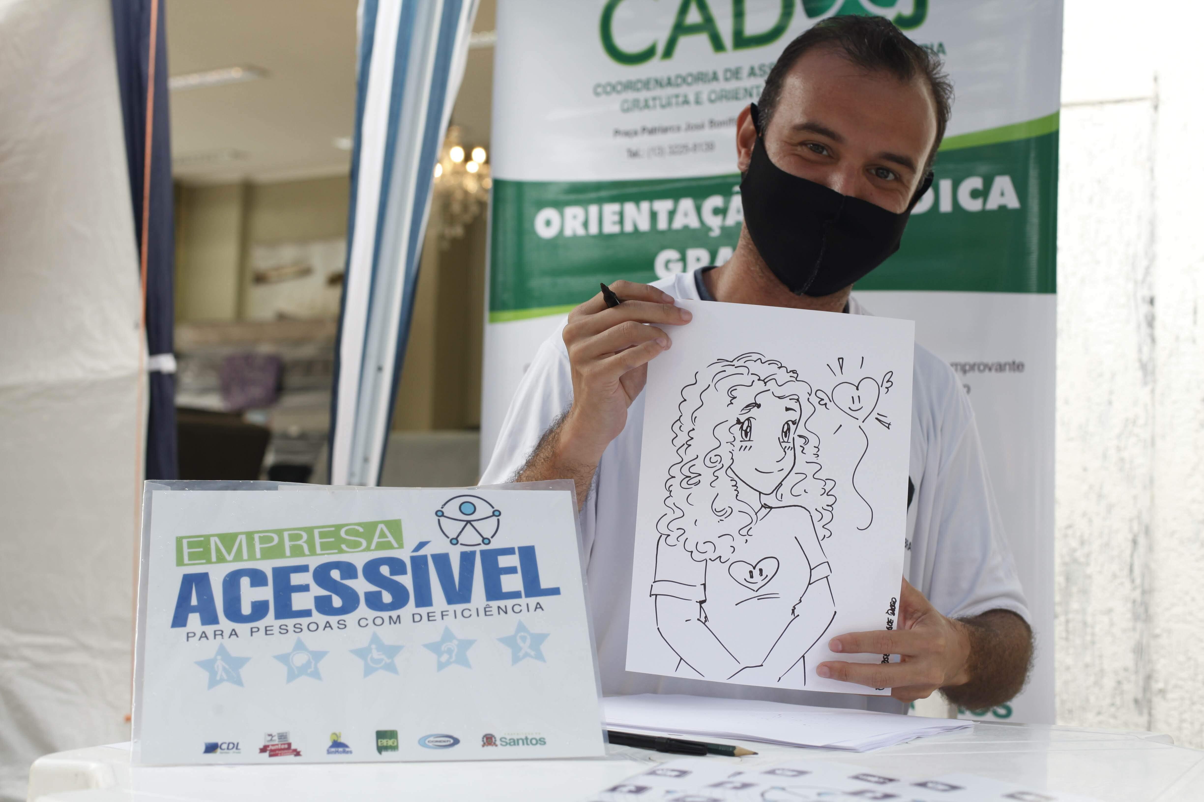 Participante da Central de Libras fez caricaturas no local