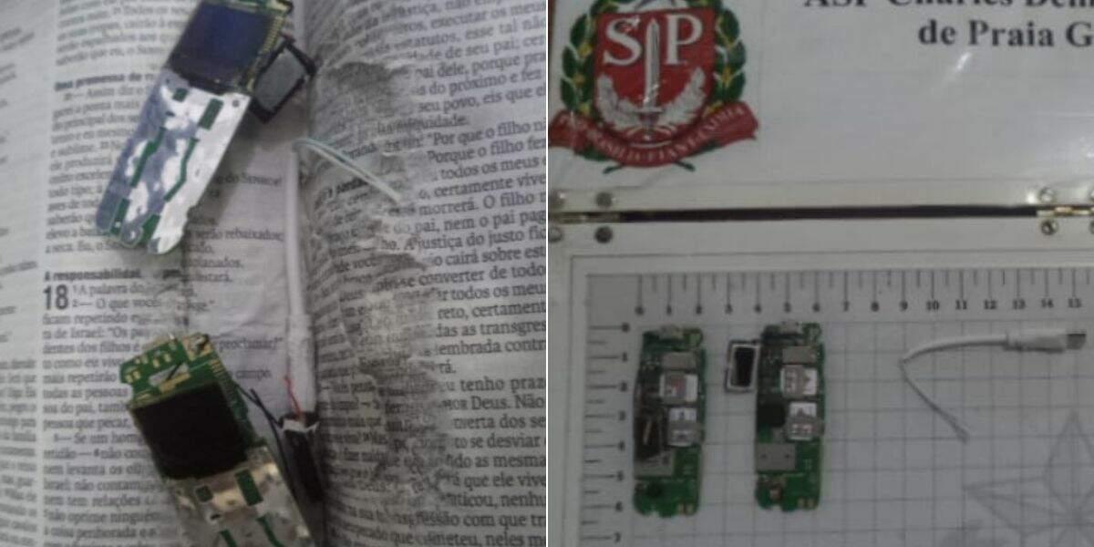 Além das placas de celulares, também foram encontrados quatro chips e um cabo de carregador
